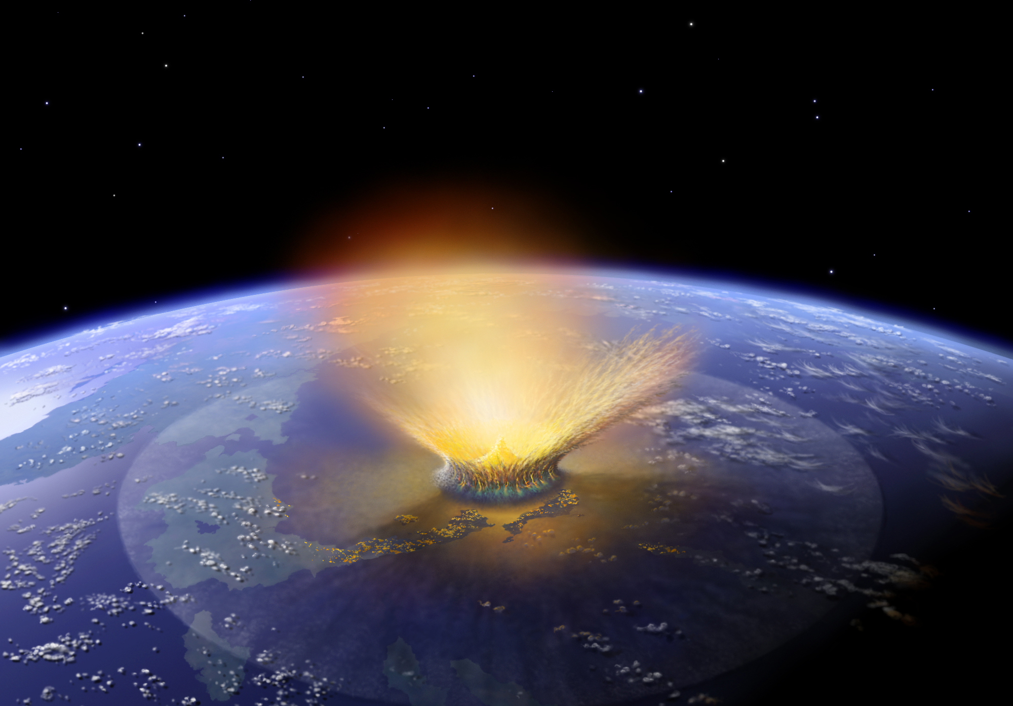 This image shows an artist's depiction of a 10 kilometer 6 mile diameter asteroid striking the Earth Credit Don Davis Southwest Research Institute