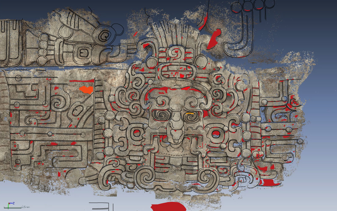 A tracing of an image found at the El Zotz archaeological site in Guatemala depicts the Maya sun god