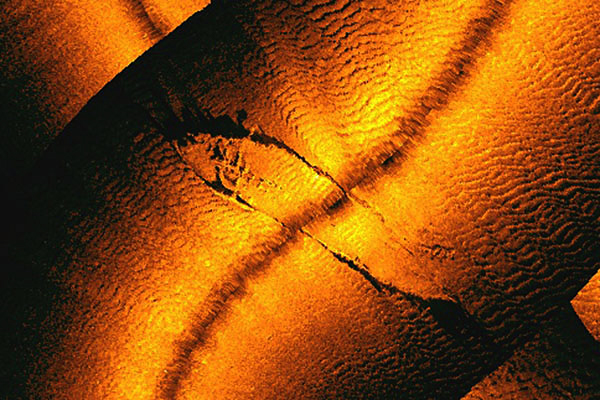 A sonar generated image of a shipwreck identified as the W R Grace