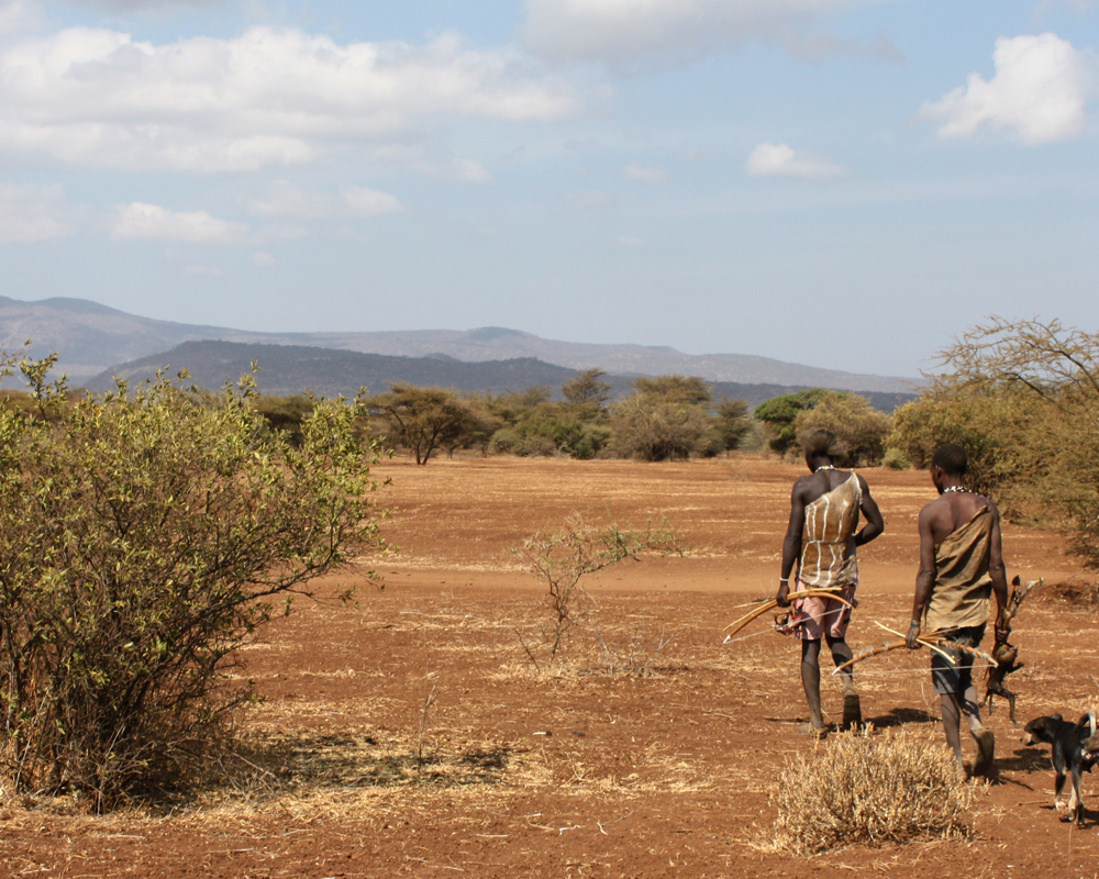 A Hadza hunter in Tanzania. The skills need to kill animals for food have now been dated back to two million years ago.