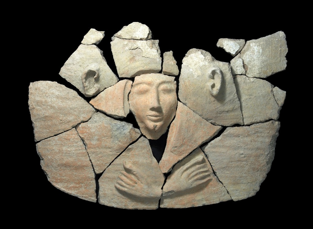 Parts of the coffin's lid after an initial cleaning. Photograph: Clara Amit, courtesy of the Israel Antiquities Authority.