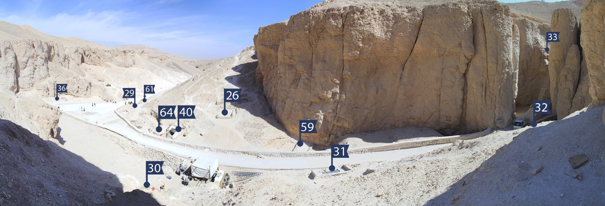 Panorama view over the area in the Valley of Kings investigated by the University of Basel Kings' Valley Project: Tomb KV 40 is located directly next to tomb KV 64 which was discovered by the Basel Egyptologists in 2012. (Illustration: University of Basel/Egyptology)