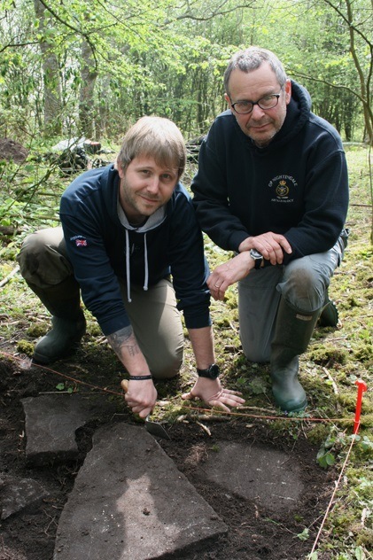 Ex-Royal Marine Rich Bennett (left) and Phil Abramson at the Dinham dig site [Picture: Crown copyright]