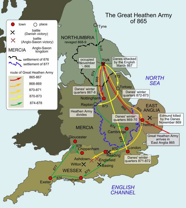 A map of the routes taken by the Great Heathen Army from 865 to 878 : WikiPedia