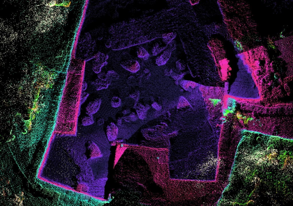 LiDAR map composed of millions of discrete points color coded to elevation. Plos One