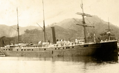 SS City of Rio de Janeiro built by John Roach & Son in 1878 at Chester, Penn. regularly transported passengers and cargo between Asia and San Francisco, photo taken at Nagasaki, Japan, 1894. Credit: San Francisco Maritime National Historical Park